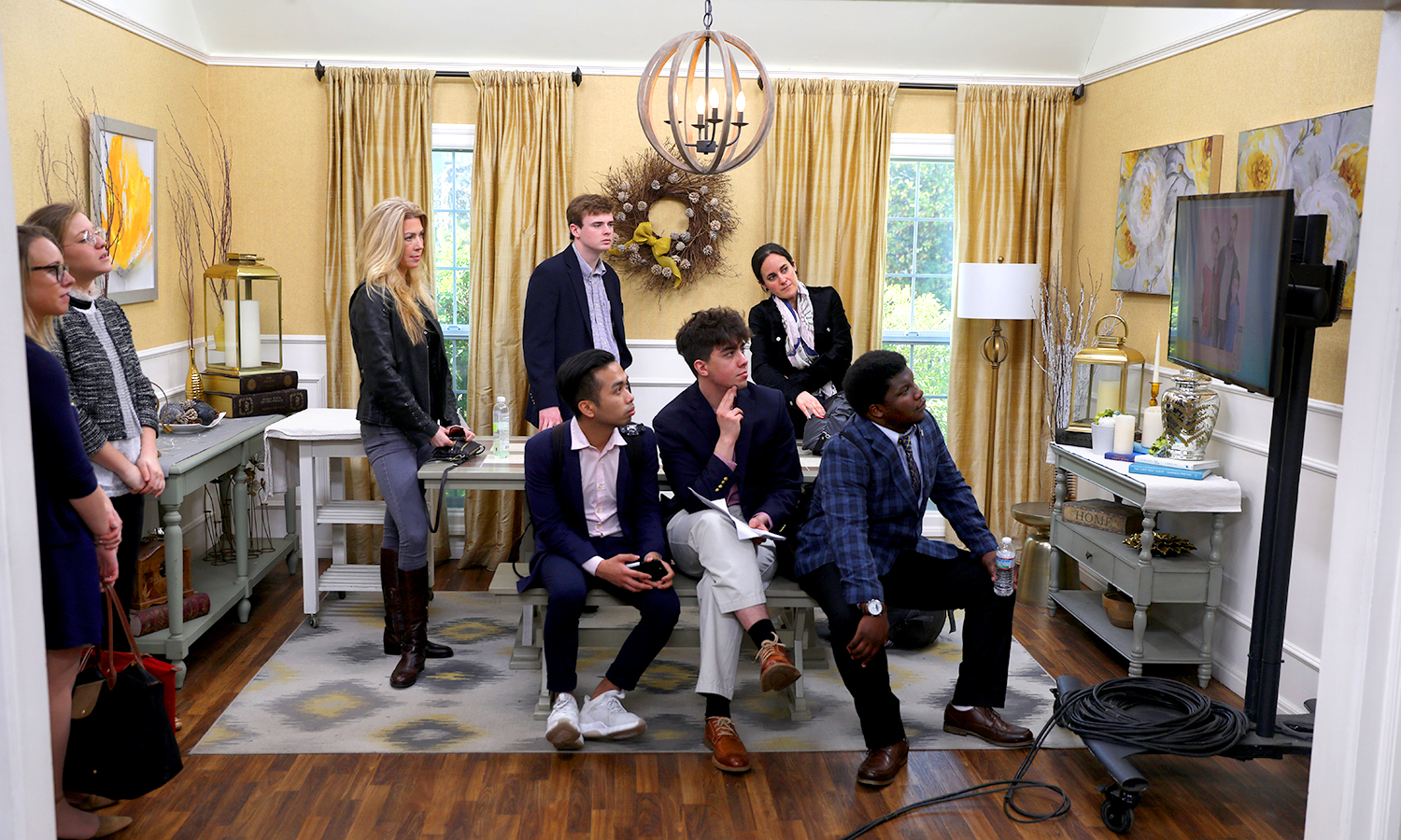 Students watch filming of Hallmark's Home & Family on set.