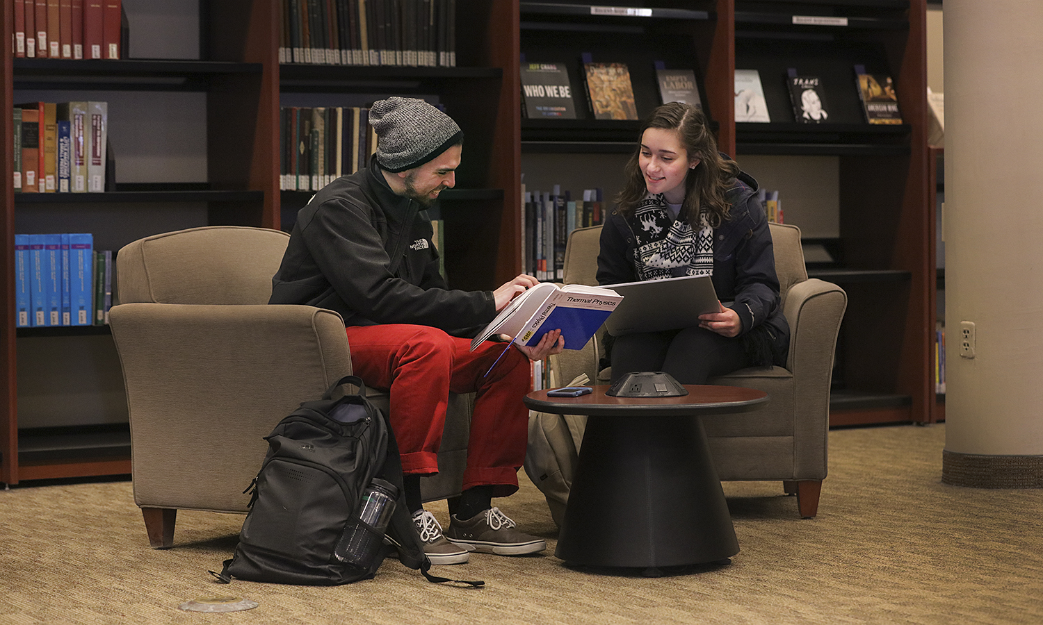 Students study in Library on the first day back to classes after winter break. Andrew Scammell '18 and Danielle Moyer '18