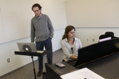 First Day of Classes in the Gearan Center for Performing Arts. Jazz Saxophone instructor, Alexa Tarantino works with vocal student Will Conard-Malley '17 in one of the 3rd floor Music Studios.