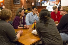 """Friederike Jandewerth, Foreign Language Teaching Assistant for German Area Studies, invites HWS students for the first """"Stammtisch"""", a time to meet people, practice German and enjoy food and drink, of the Spring Semester in the Cellar Pub."""