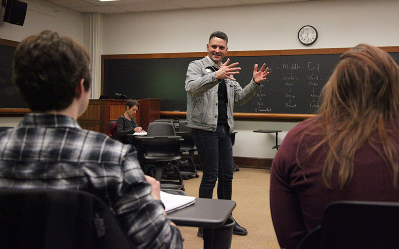 "Celebrated Playwright and Performer, Johnny Drago, presented an introductory playwriting workshop, ""How to Change the World Completely Forever: on memories, dreams, fear and composing the theatrical event"", to students and faculty on Monday evening in Coxe Hall."