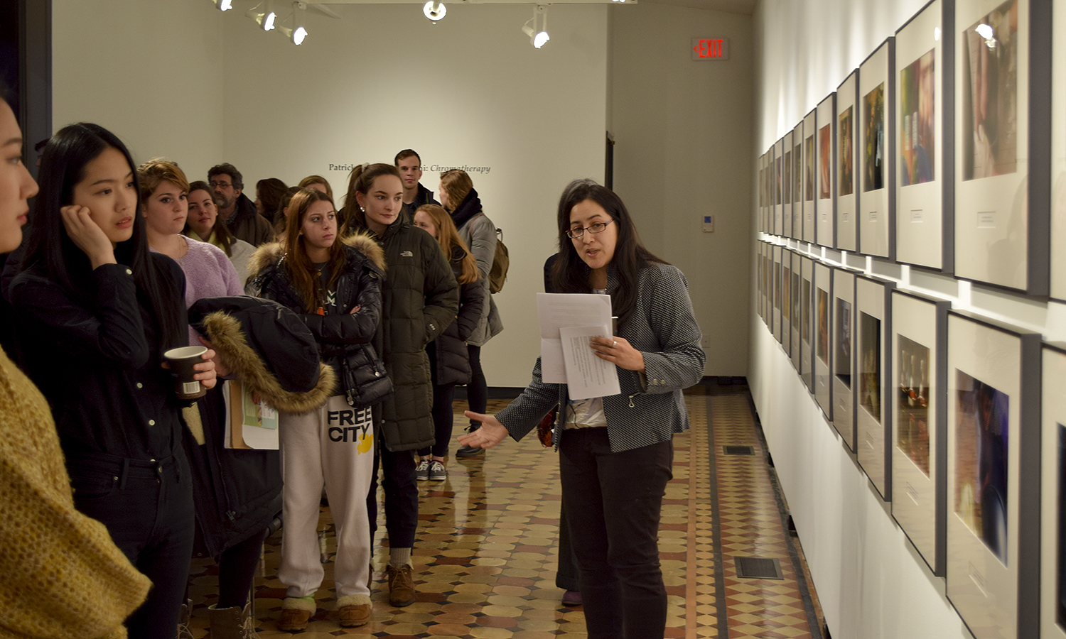 Associate Professor of Art and Architecture Christine Chin speaks at the opening of the Patrick Ryoichi Nagatani Gallery at the Davis Gallery in Houghton House.Opening of the Patrick Ryoichi Nagatani Gallery at the Davis Gallery in Houghton House.