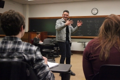 """Celebrated Playwright and Performer, Johnny Drago, presented an introductory playwriting workshop, """"How to Change the World Completely Forever: on memories, dreams, fear and composing the theatrical event"""", to students and faculty on Monday evening in Coxe Hall."""