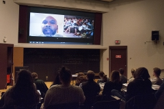 PIR Omar Eaton-Martinez gives a presentation from Washington DC in the Geneva Room to HWS students looking to internship at the Smithsonian