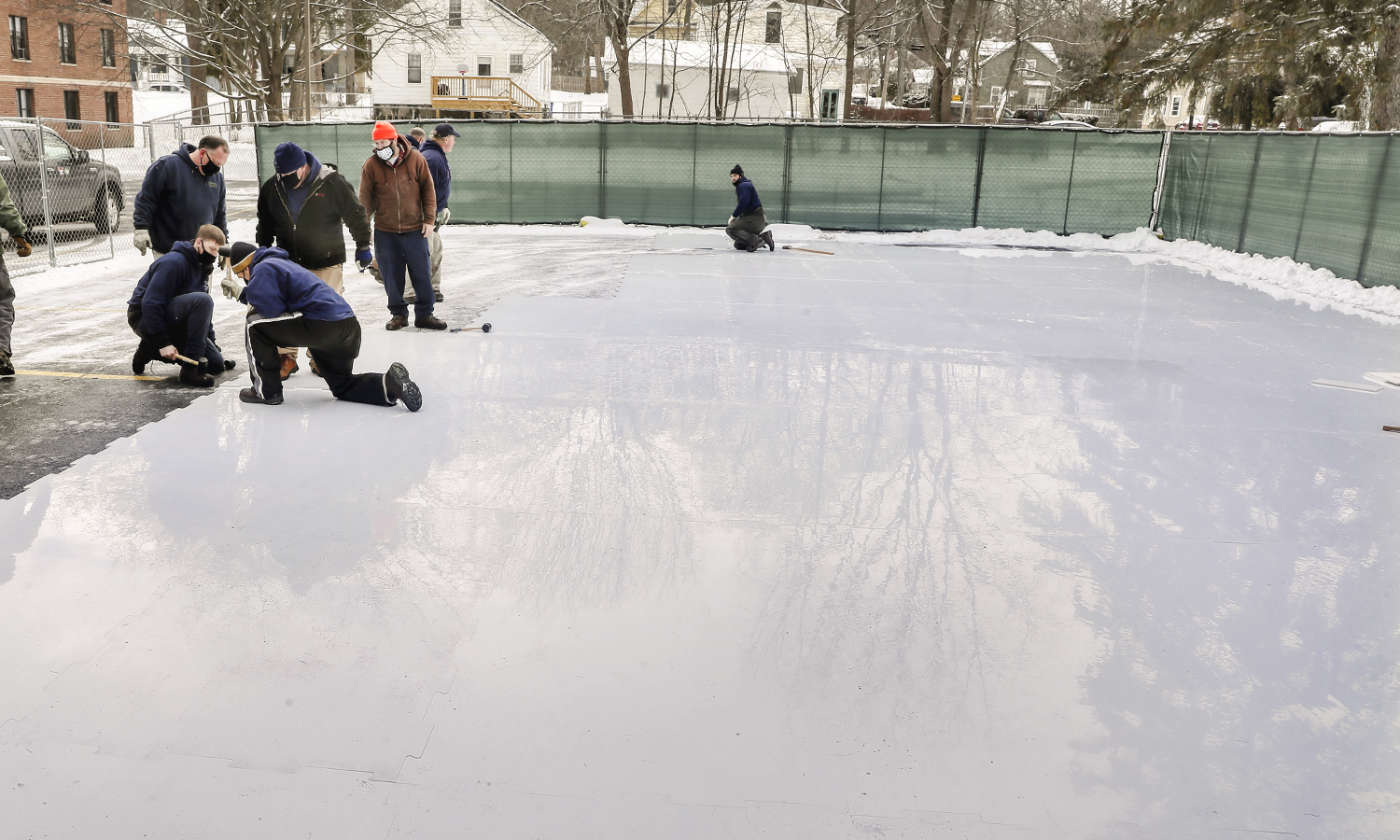 Setting up the Ice Rink for Winter Wonderland