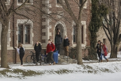 Students walk to class outside of Medbery Hall.