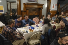 Students gather at Shabbat Dinner in the Abbe Center for Jewish Life.