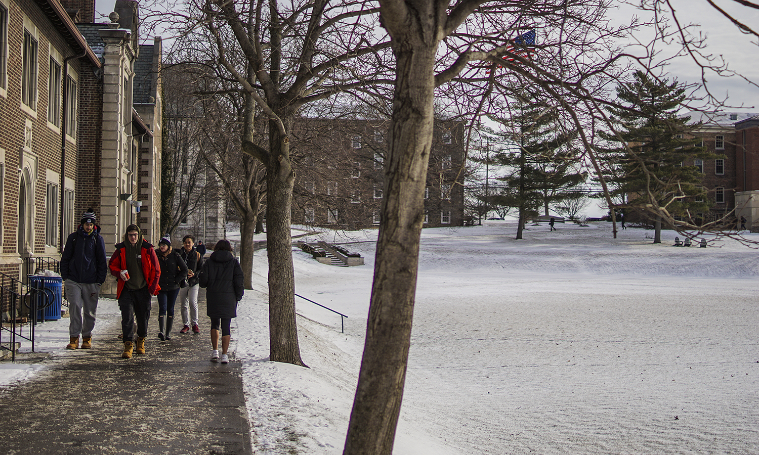 Students walk to class on Wednesday morning.