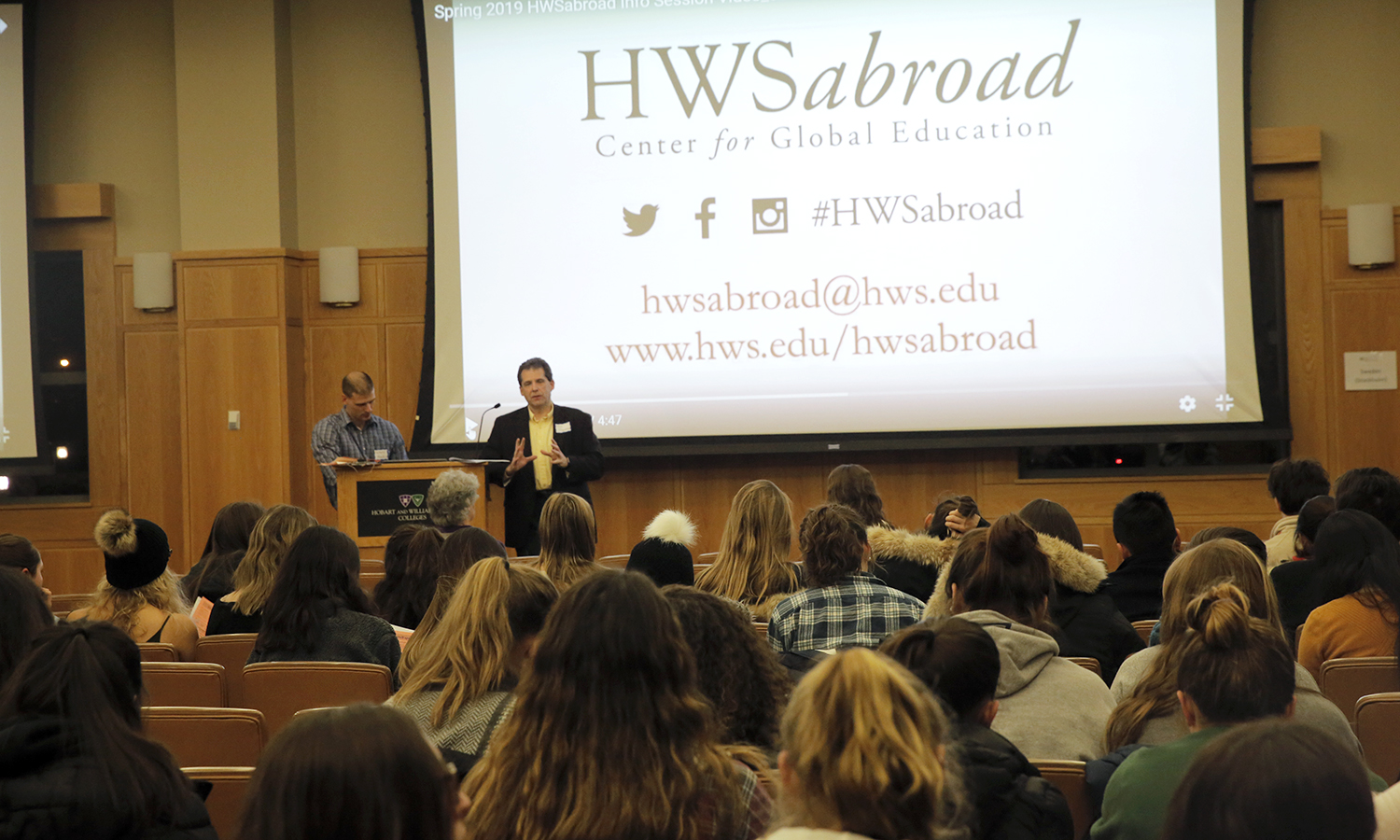 "Associate Dean for Global Education Tom D'Agostino discusses study abroad opportunities in the Vandervort Room. The Colleges offer the top study abroad program in the country, according to Princeton Review's 2018 edition of ""The Best 382 Colleges."""