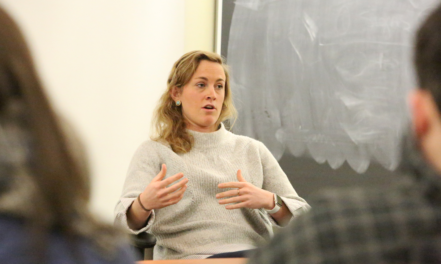 Senior Associate of Recruitment and Operations at Carney Sandoe & Associates Corinne Werner speaks with students about opportunites for teaching placements around the country during an information session in Trnity Hall.