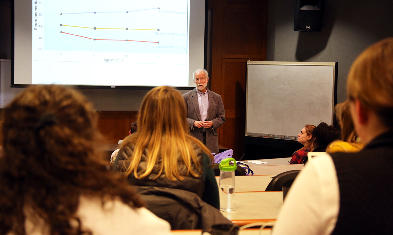 "In the Sanford Room, Professor Gary Evans from Cornell University speaks to student about how the physical environment affects human health and well being among children as part of his talk, ""The Environment of Childhood Poverty."""
