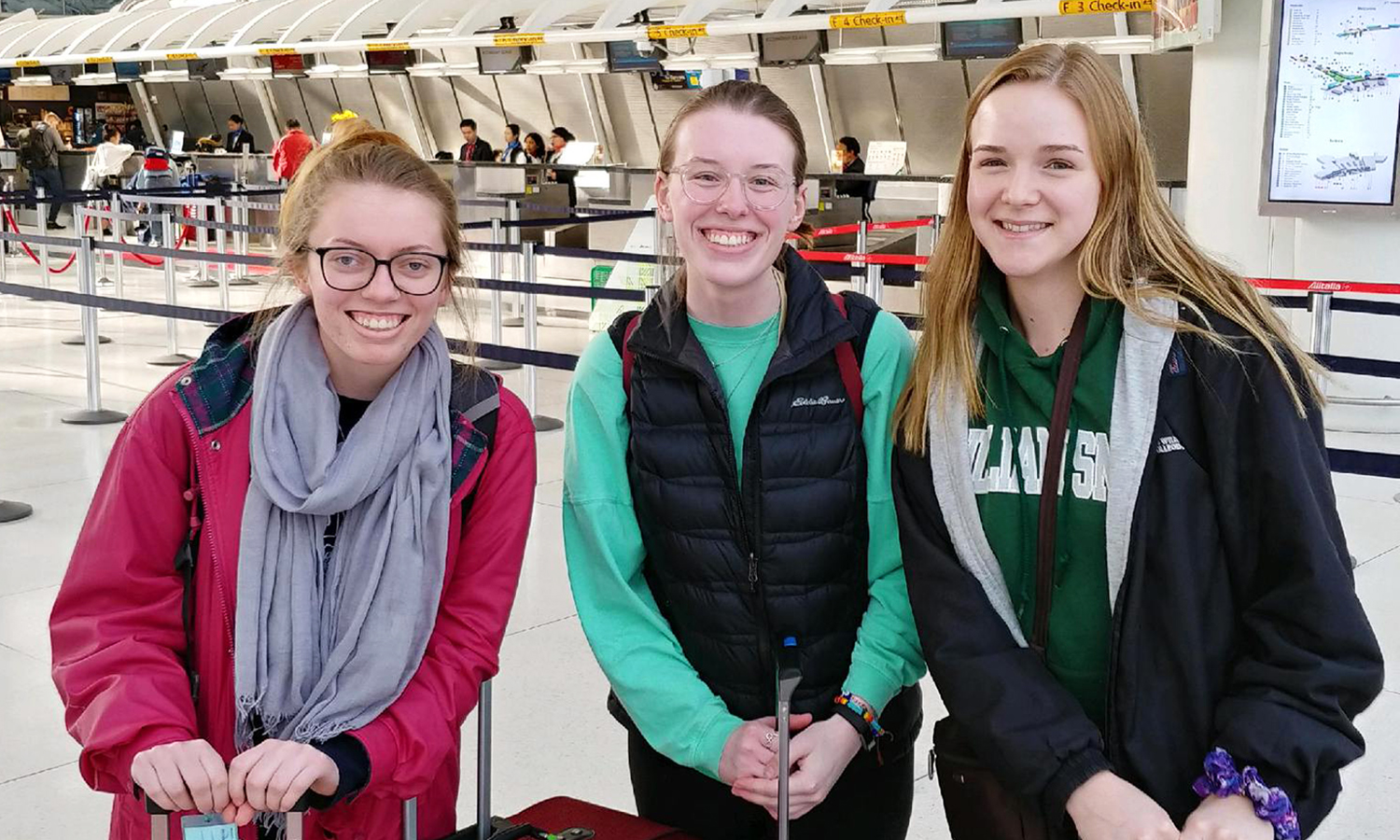 Elizabeth Morgan '19, Carly Kelly '20 and Morgan Hekking '19 at John F. Kennedy International Airport get ready to board their flight for HWS's abroad program to Rabat, Morocco.