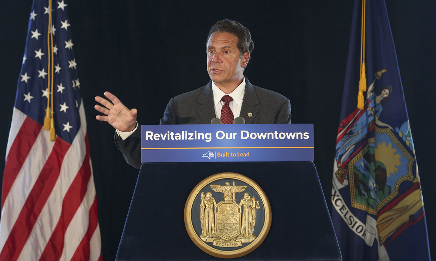 New York Governor Andrew Cuomo speaks at the Geneva Lake Front Visitor Center to announce the $10 million grant for downtown  revitalization.
