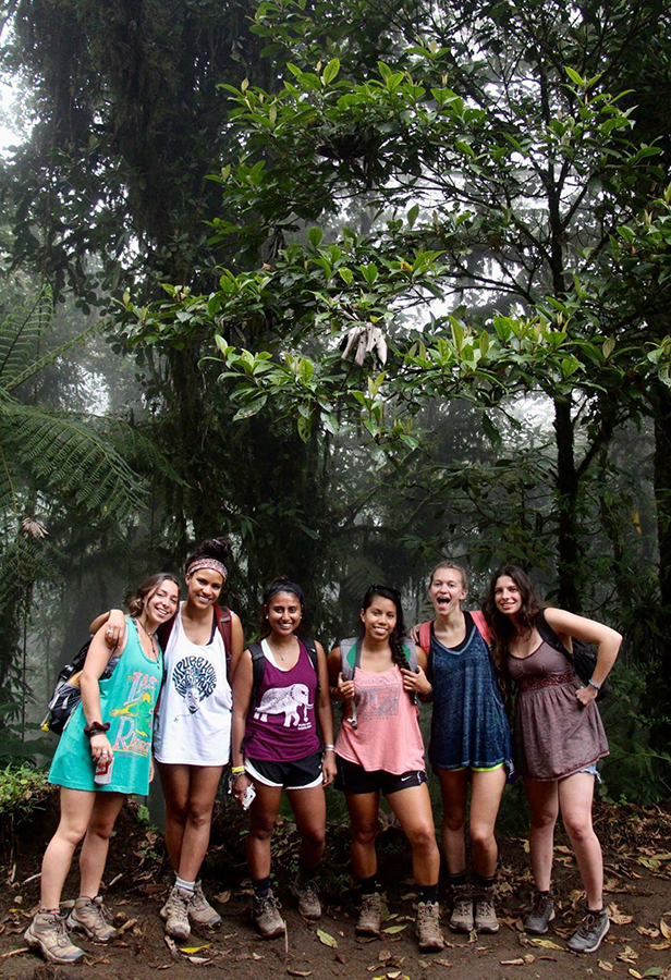 Sarah Ouellette '17 and Alicia Roistacher '17 (middle) hiked from the Santa Elena Reserve forest to the San Gerado Biology Station in La Fortuna, with fellow international students while studying abroad in Costa Rica.