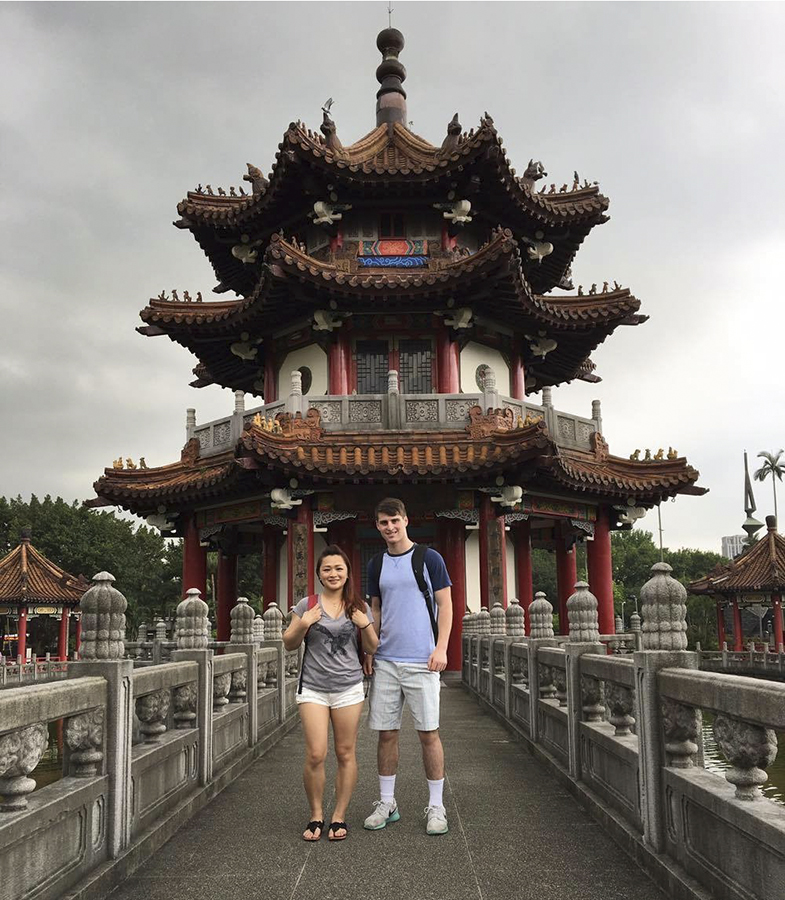 Gavin Gross '19 and his lab teacher, Viola Chen, who worked at HWS as part of the Fulbright program.