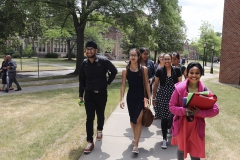 Students from the New Jersey SEEDS program head to class on a sunny summer day.