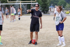 BreLynn Nasypany â11 explains a drill to campers during last weekâs Heron soccer camp. Nasypany, who was recently named the head coach for RPIâs womenâs soccer team,  will be one of eight Herons inducted into the Heron Hall of Honor on October 15.
