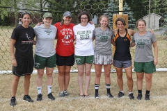 William Smith Soccer alums Bre Nasypany '11, Chelsea England '12, Nikki Dudley '07, Caroline Wenzel Chapman '05, Maddie Buckley '15, Marcie Meagher Biata '96 and Zoe Eth '16 help out at the William Smith soccer camp.