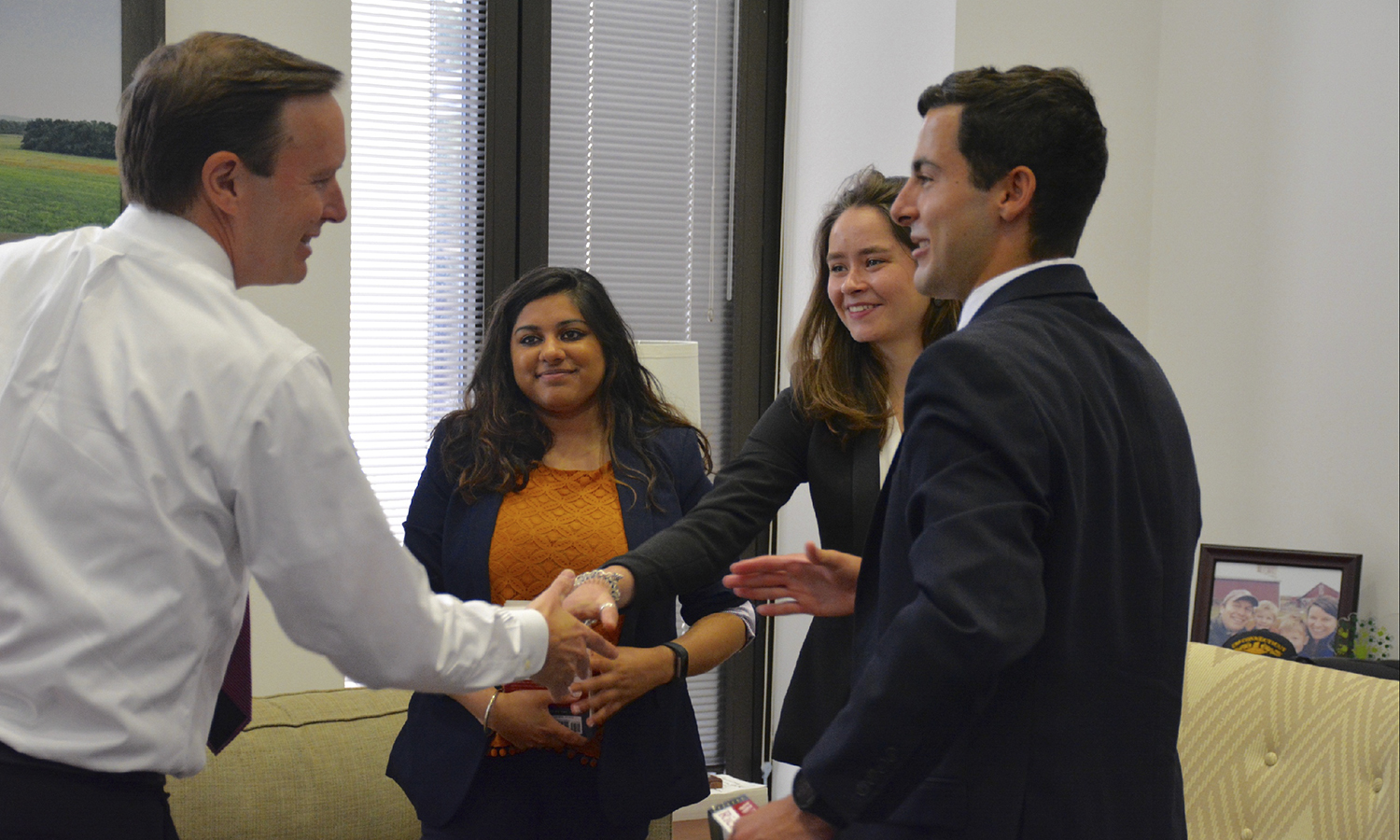 Abigal Abrams '19  (center) sits in on a press meeting in Washington, D.C. This summer, Abrams is working as a Press Intern for Democratic Senator Chris Murphy from Connecticut.