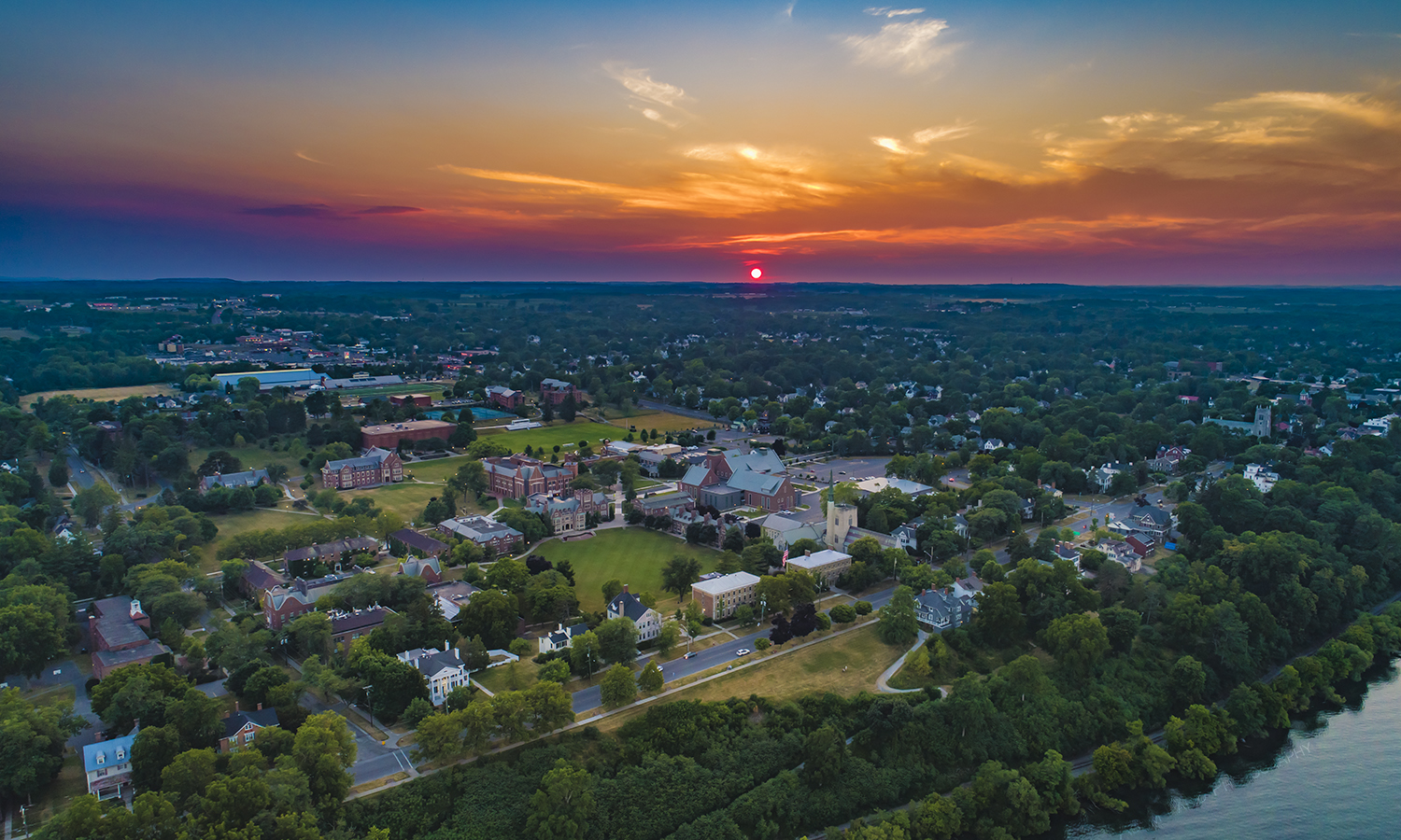 A midsummer sunset over the Hobart and William Smith Colleges campus.