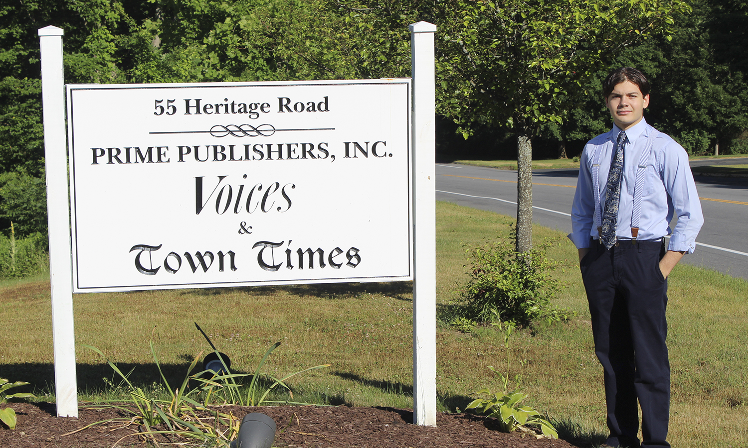 Gabriel Pietrorazio '20 poses at Prime Publishers Inc. in Watertown, Connecticut. Pietrorazio is interning as a reporter for the newspaper.