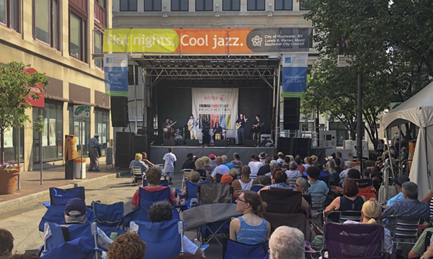 Members of the HWS Jazz Guitar Ensemble perform at the 2018 Xerox Rochester International Jazz Festival, led by Applied Instructor of Music Greg Wachala. The students include guitarists Michael Bruno '19 and Bradley Stewart '19, drummer Nick LaDuca '19 and percussionist Orson Sproule '21 and bass guitarist Jasper White '20.