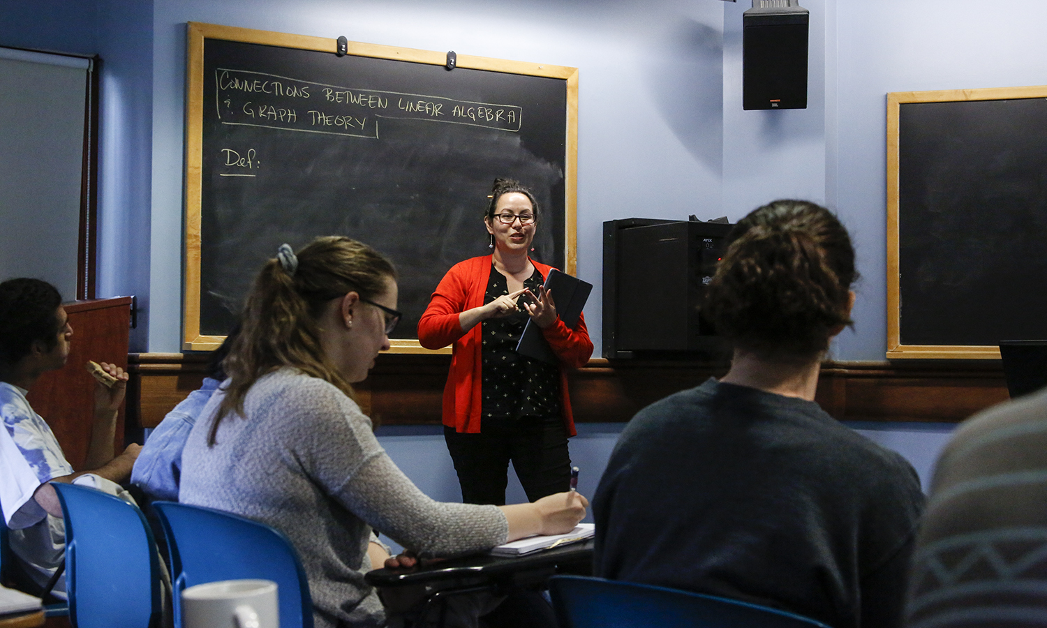 Assistant Professor of Mathematics at Connecticut College Augustine O'Keefe explains x as part of x in Napier Hall.