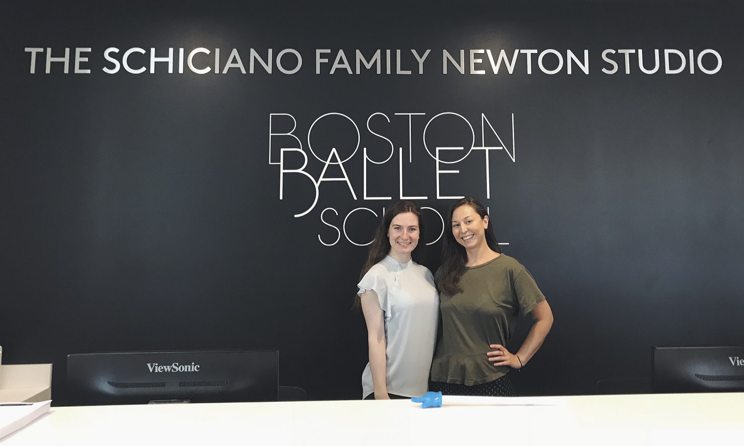 Sarah Cavanaugh '20 (left) poses with Alexandra Welych-Miller '15 during an arts administration internship with Boston Ballet School.