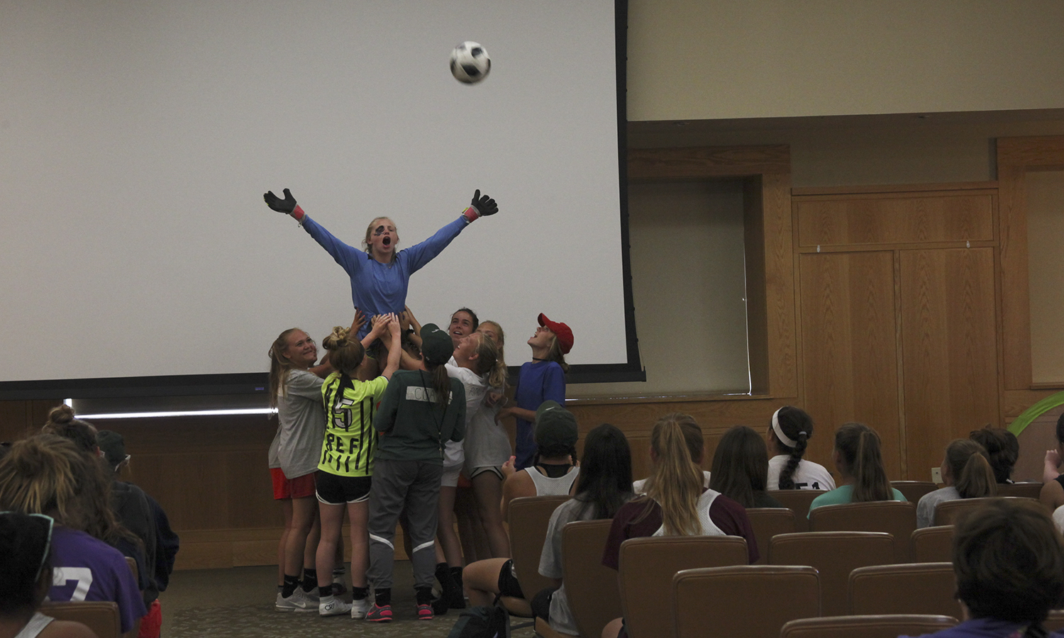 The William Smith Varisty Soccer team shows their talent during a variety show in the Vandervort Room. Annually, the Herons host a soccer camp for local middle and high school students.
