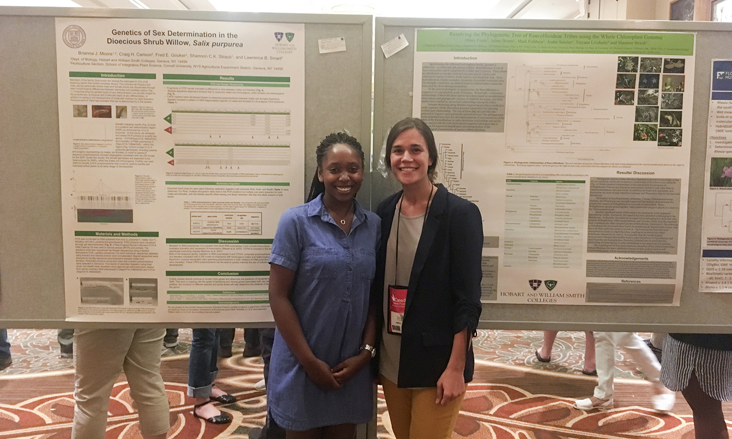 Brianna Moore '18 and Abbey Foote '17 pose for a photo after presenting their research at the Botany 2017 conference in Fort Worth, Texas.