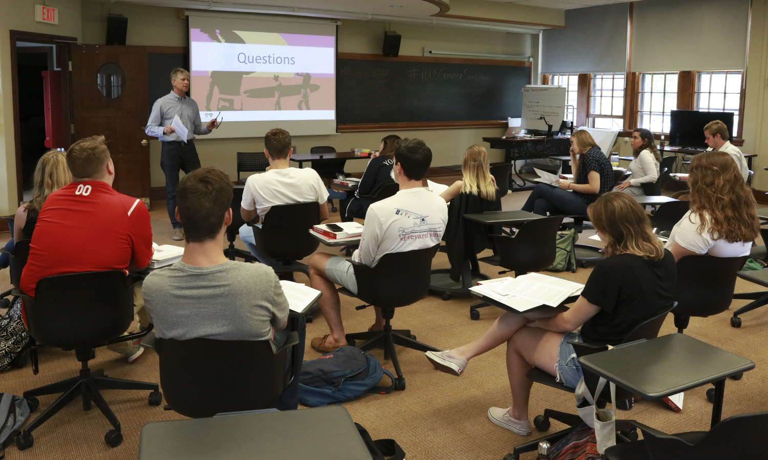 In Coxe Hall, Visiting Professor of Entrepreneurial Studies and Margiloff Family Entrepreneurial Fellow Ed Bizari speaks to students participating in the HWS Summer Sandbox Idea Accelerator, a program designed to serve as a launching point for student entrepreneurs and startup founders.