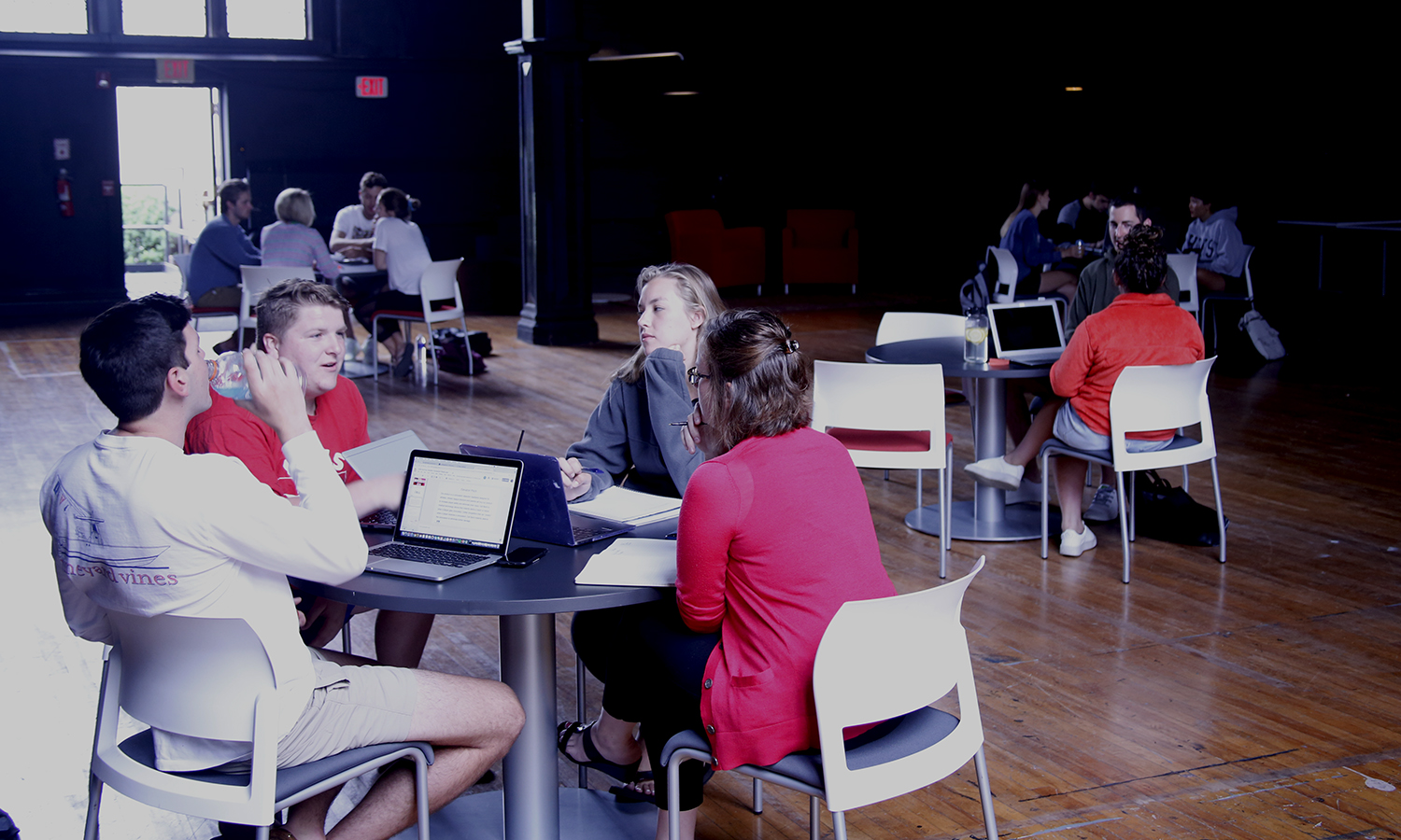 Students participating in the HWS Summer Sandbox break out into group for coaching sessions in Coxe Hall.