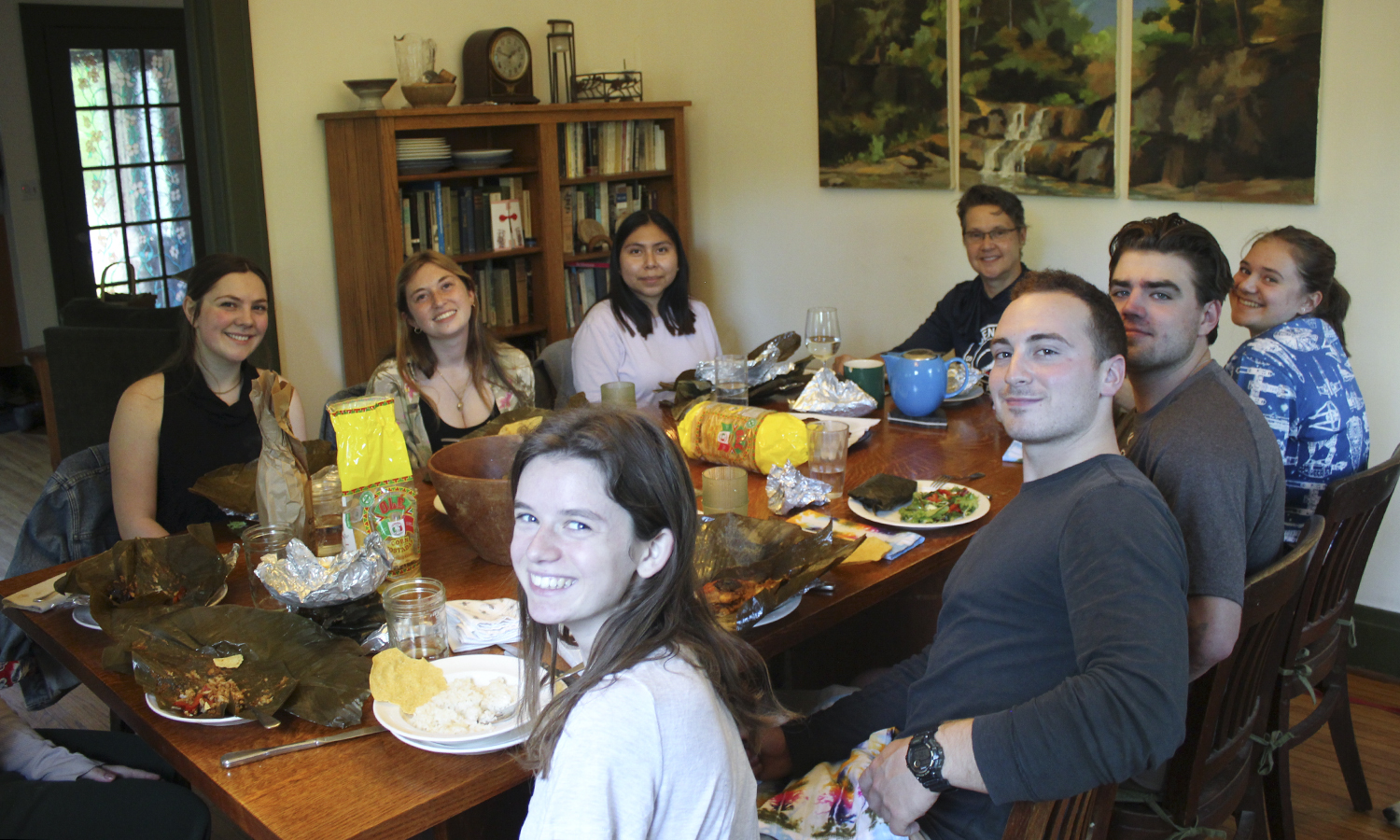 The Arens-Kendrick summer research group (and friends) gather for weekly lab dinners in the Arens-Kendrick home. This week the menu featured authentic Guatemalian tamales made by Catalina Garcia Tomas and Professor of Geoscience Nan Crystal Arens. Around the table from far left: Sam Sorensen, Maddi Meyer, Catalina Garcia, N.C. Arens, Rose Kendrick (my daughter), Chase Bell, Mark Suchewski, and Kate Clayton.