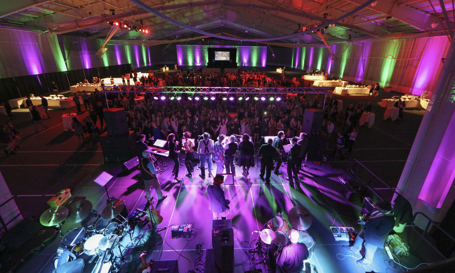 The President's Garage Band performs for students in Bristol Field House on Saturday. The Presidents' Ball was hosted by the presidents of multiple student organizations in honor of President Mark D. Gearan and Mary Herlihy Gearan in recognition of their service to the Colleges.