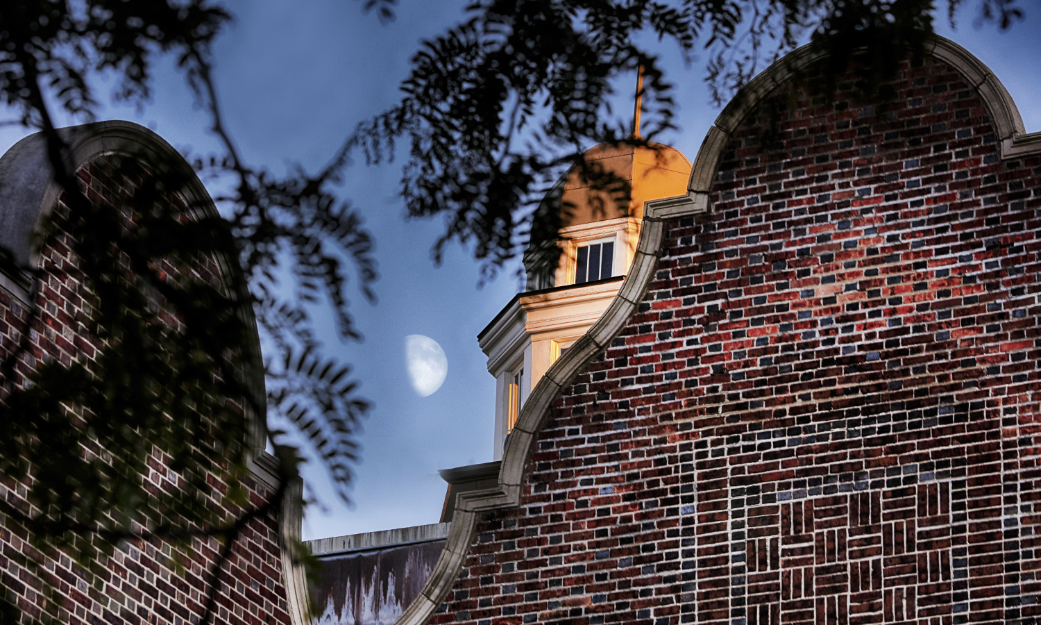 Moonrise over the cupola on top of Coxe Hall.