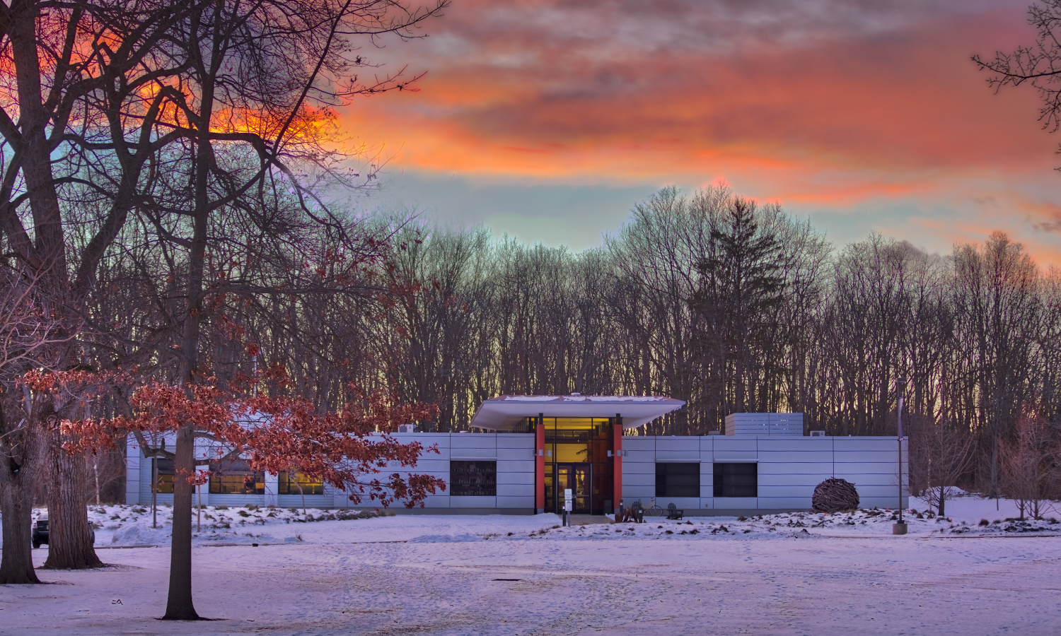 Sunset over the Katherine D. Elliott '66 Studio Arts Center.