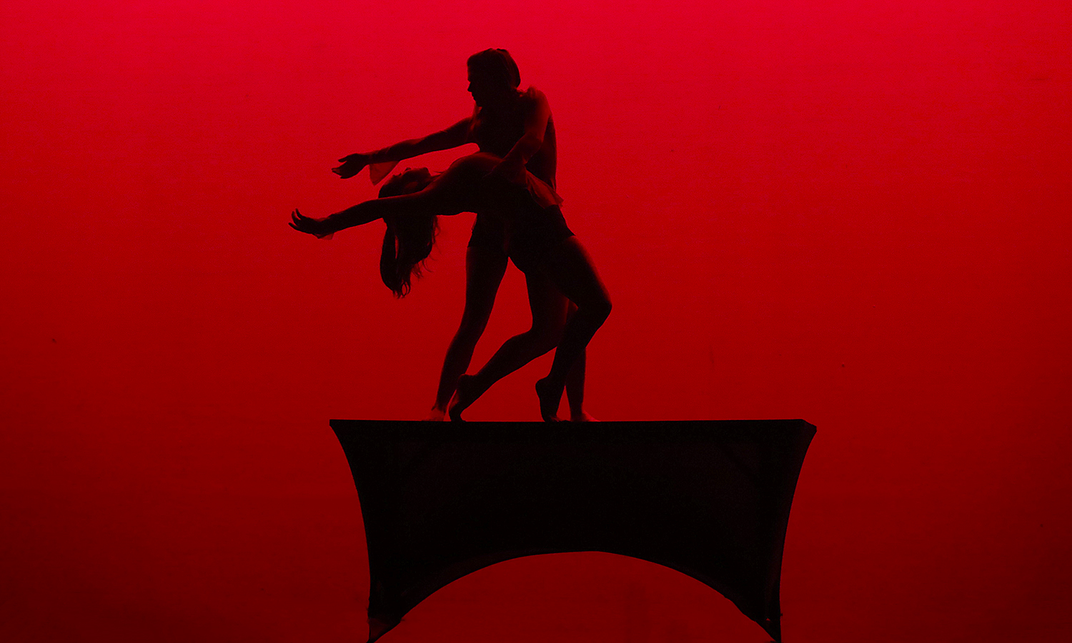 """During the performance of """"XII,"""" choreographed by Tanina Urbanski '17, the dancers' silhouettes grace the stage."""