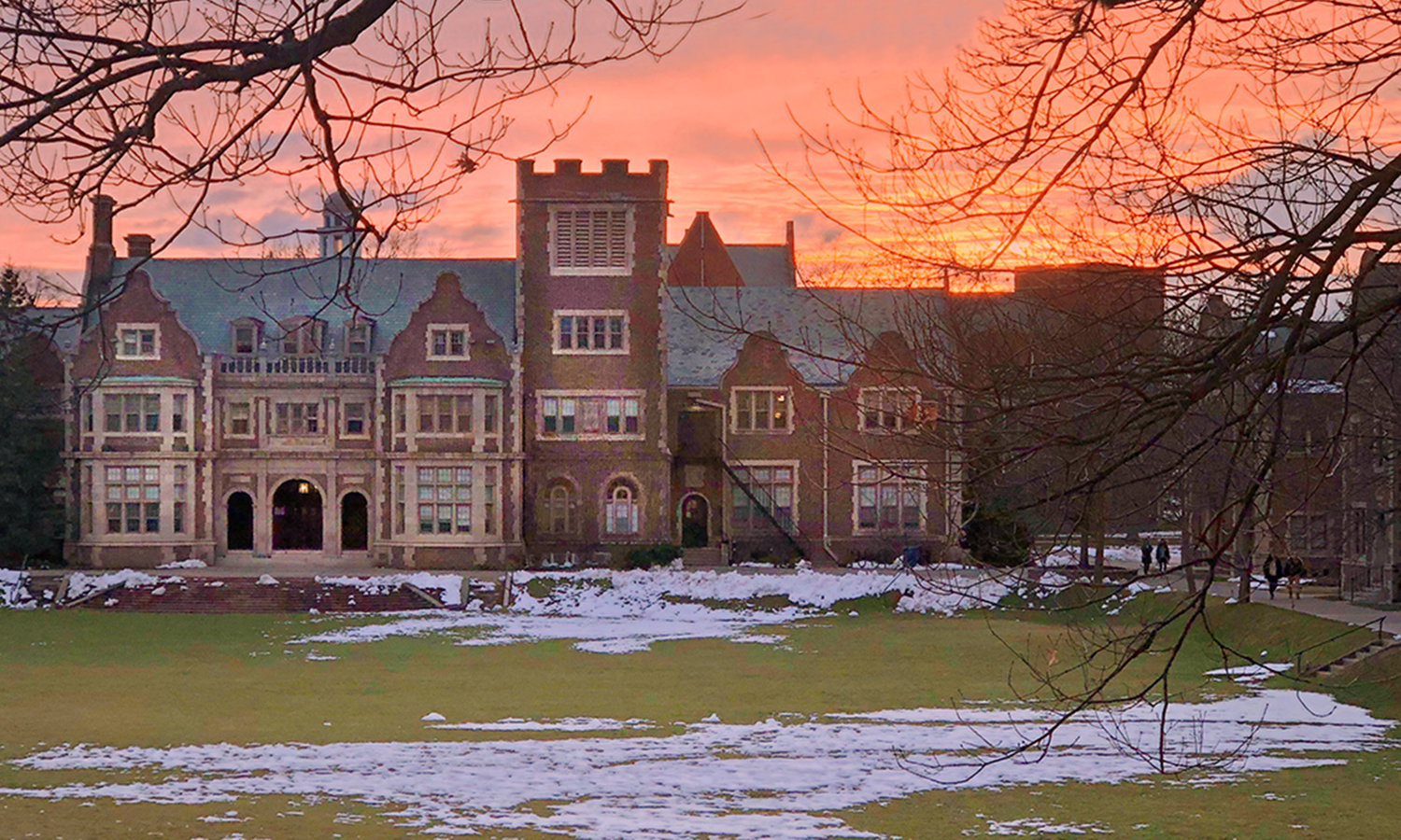 Jonah Salita '19 captures the sun setting over Coxe Hall on Monday night.