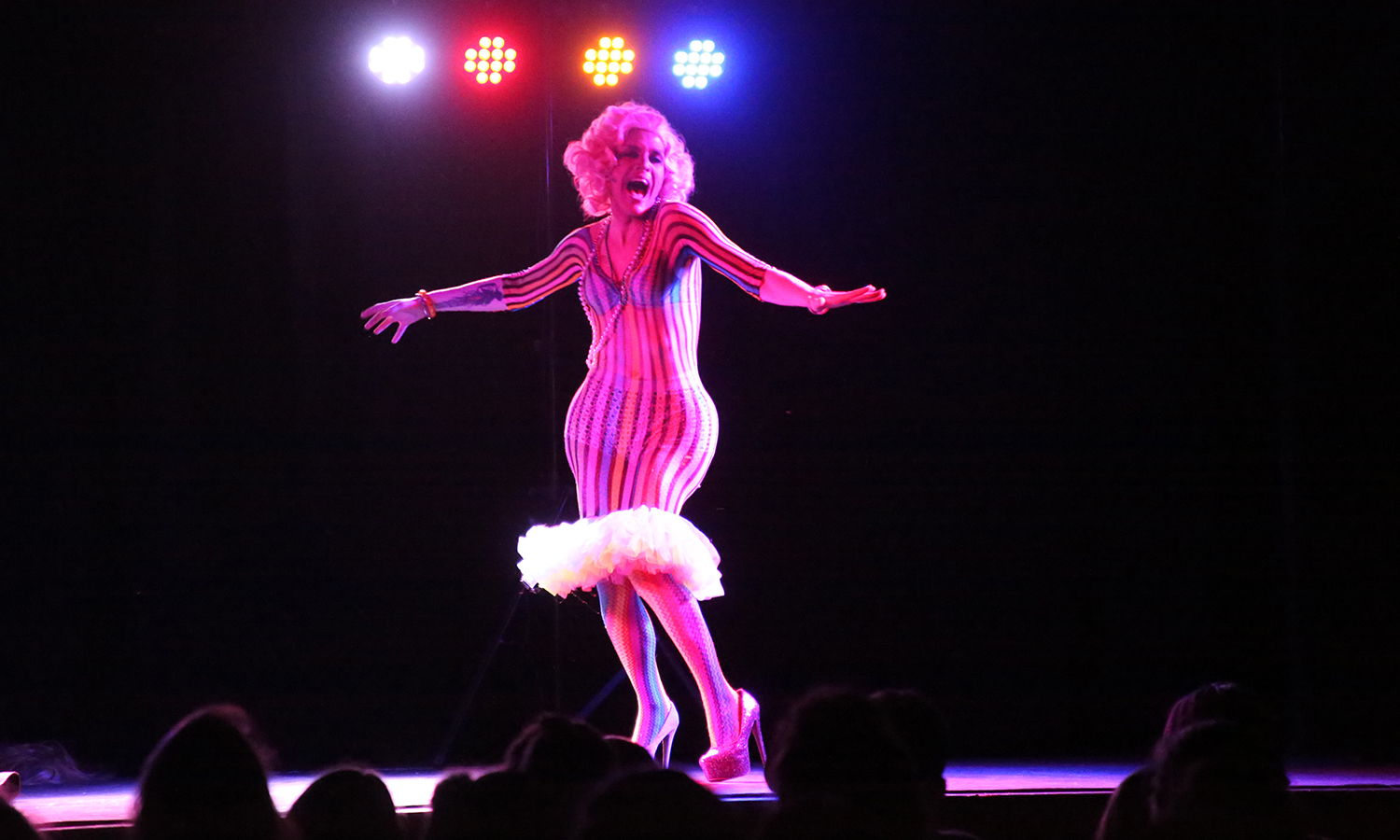"Derrick Barry performs his impersonation of actress Marilyn Monroe during ""The Drag Show"" hosted by the LGBTQ+ Resource Center, the Campus Activities Board and Pride Alliance in Bartlett Theatre."