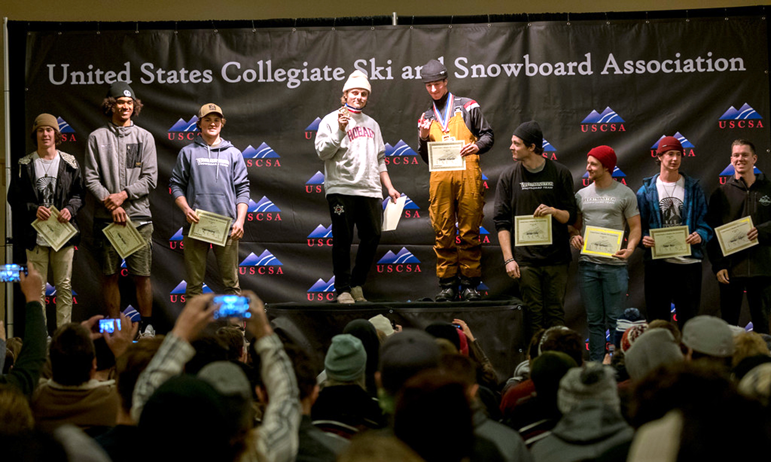 Myles Silverman '19 poses for a photo after finishing first in both the giant slalom and slalom at the  United States Collegiate Ski and Snowboard Association (USCSA) National Championship in Lake Placid, N.Y.
