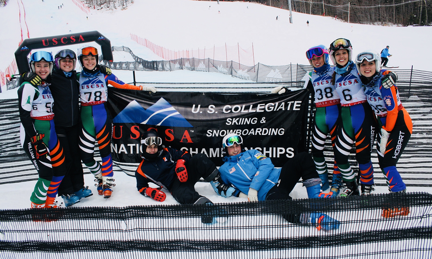The William Smith Ski team gathers for a photo during USCSA Nationals at Whiteface Mountain in Lake Placid, N.Y. William Smith finished in ninth place overall in the Alpine women's team competition.