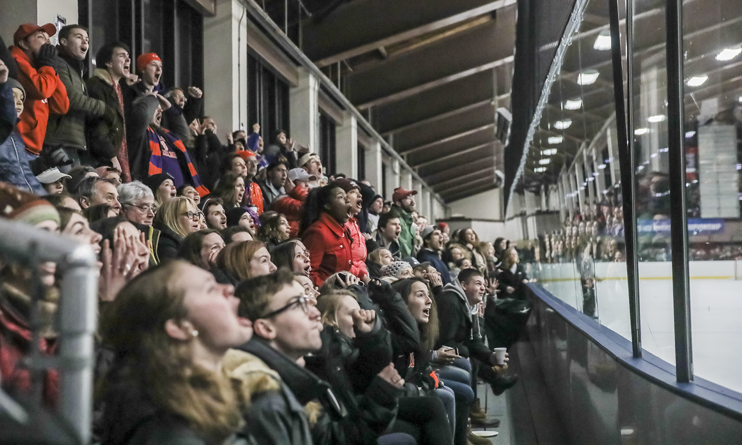 HWS students cheer on the Statesmen Ice Hockey team during the first-round of the NCAA Division III Ice Hockey Tournament at The Cooler in Geneva, N.Y.