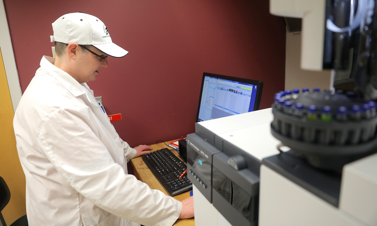 Associate Professor of Chemistry Christine de Denus analyzes samples using Gas Chromatography-Mass Spectrometry (GC-MS), a technique that determines the purity of materials as well the individual characteristics of molecules.