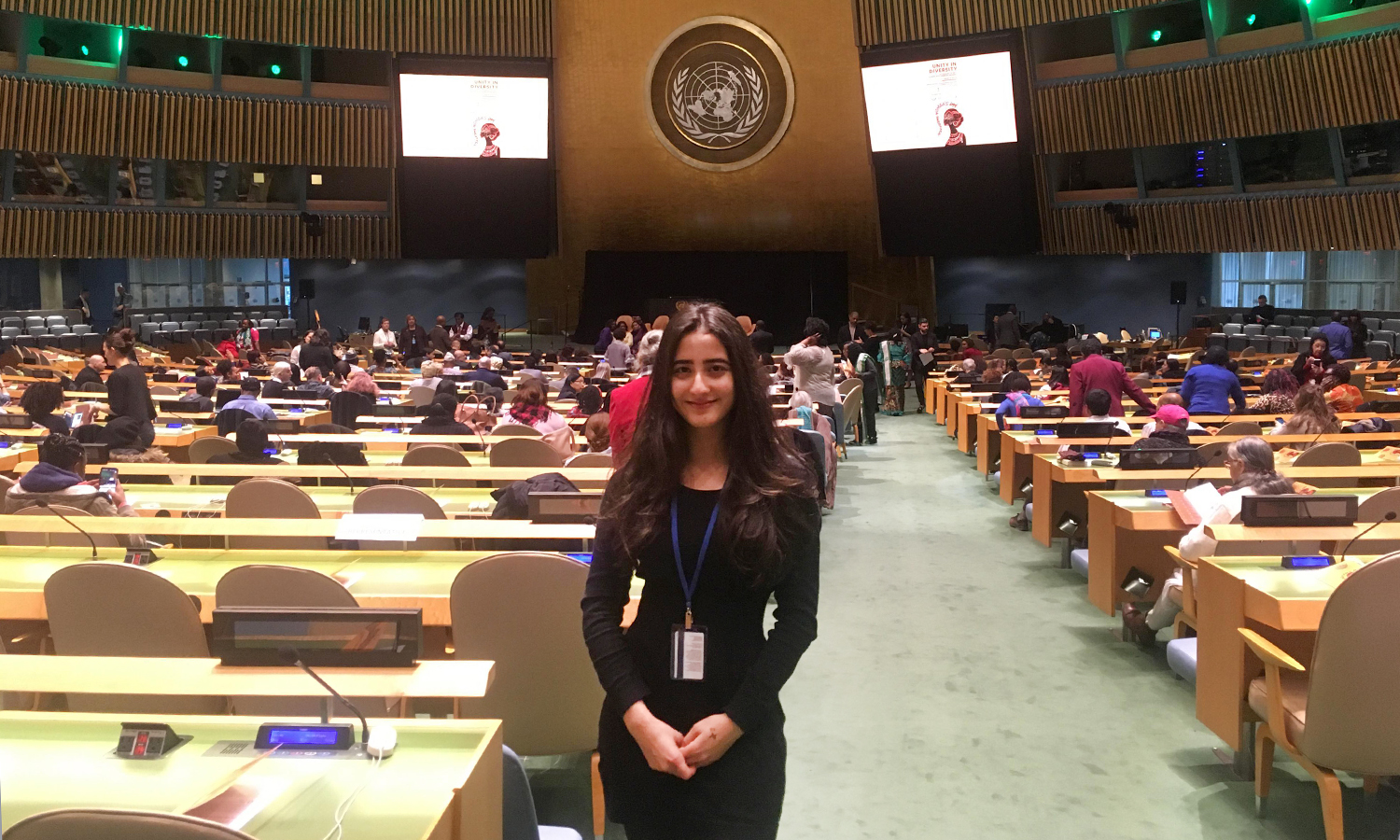 Duniya Syed '20 poses at the United Nations General Assembly. Syed was invited to speak at the 62nd session of the commission on the status of women to discuss women's issues in her home country of Afghanistan.