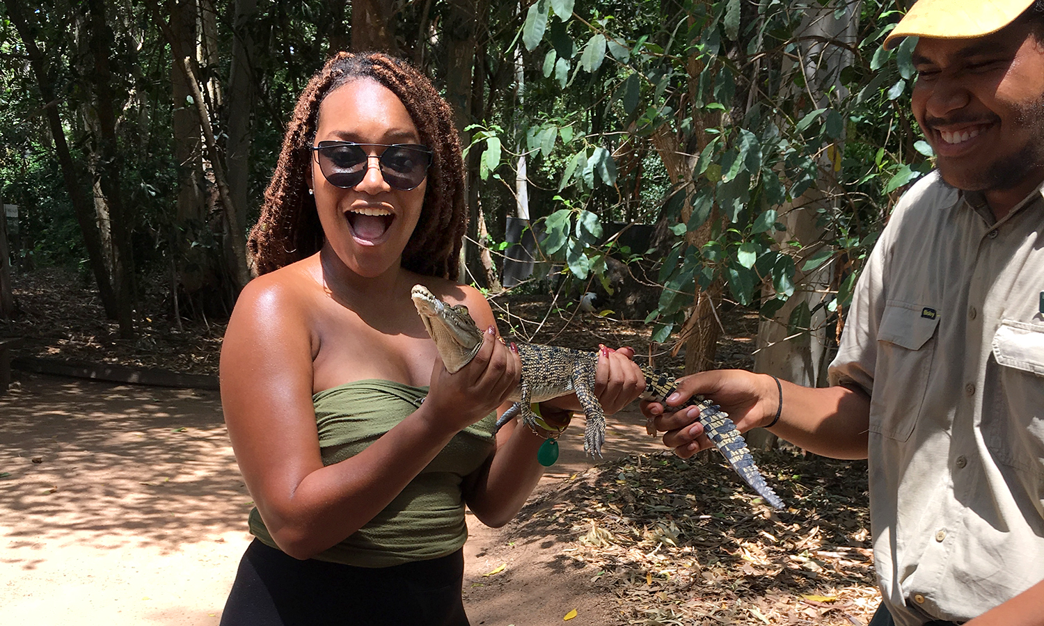 Shaahida Samuel '19 holds a baby alligator in Townsville-Cairns, Australia. Shaahida is studying abroad at James Cook University in Northern Queensland through the HWS Center for Global Education.