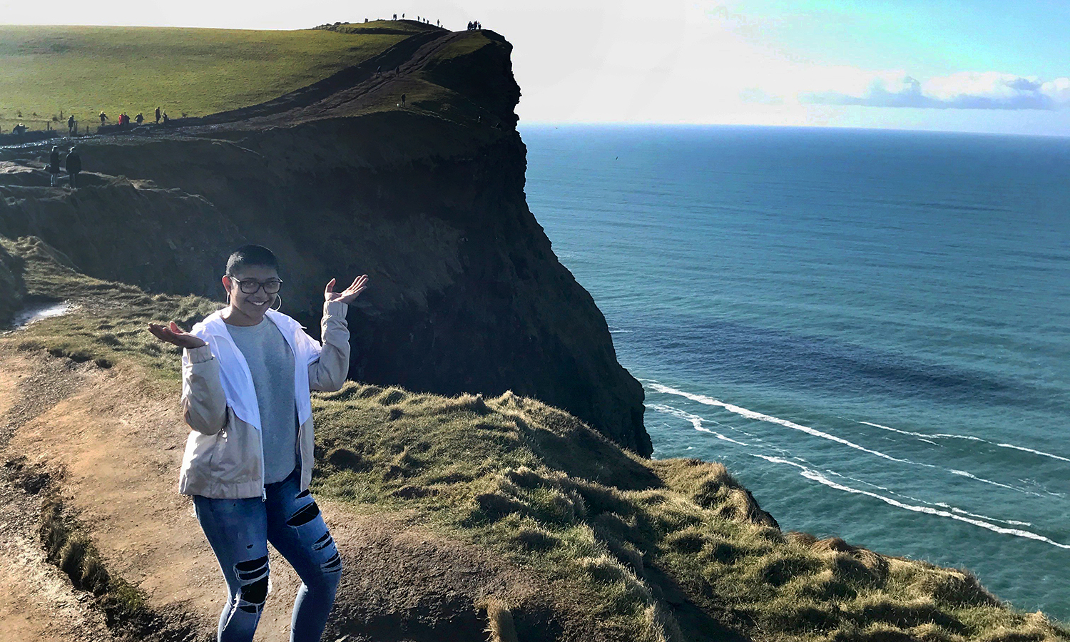 Jessica Ramtahal '20 poses for a photo at the Cliffs of Moher during her study abroad program in Galway, Ireland. An English major, Ramtahal is the recipient of this year's Lillian E. Collins Endowed Scholarship.