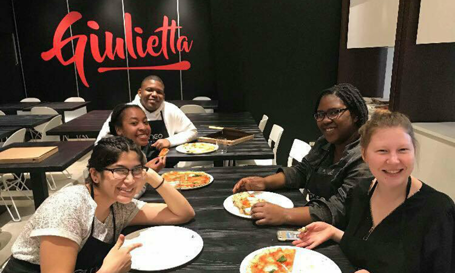 HWS students from the Rome and England study aborad programs unite for a pizza making workshop at Giulietta Pizzeria in Rome, Italy.