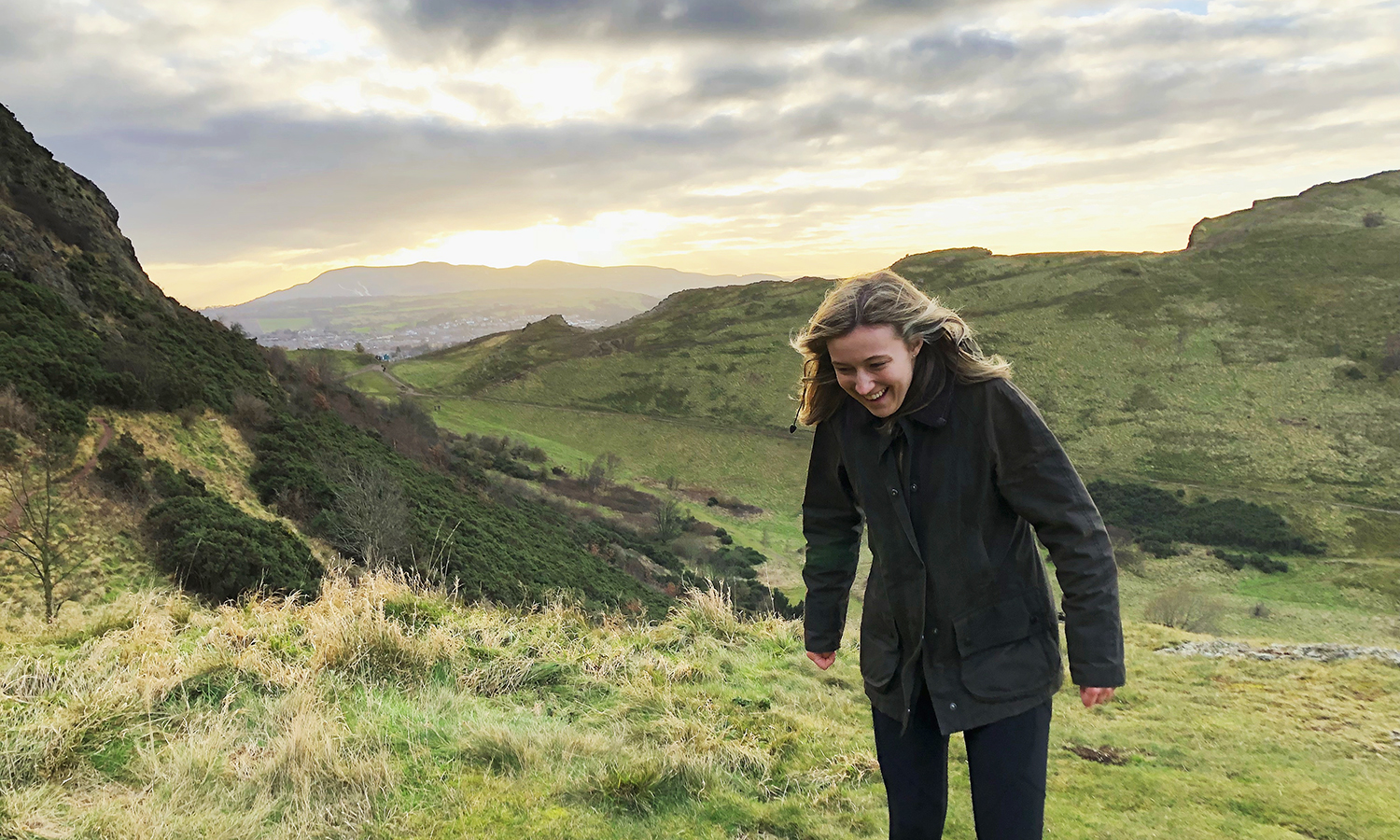 Emily Bak '19 climbs Arthur's Seat while studying abroad in Edinburgh, Scotland.