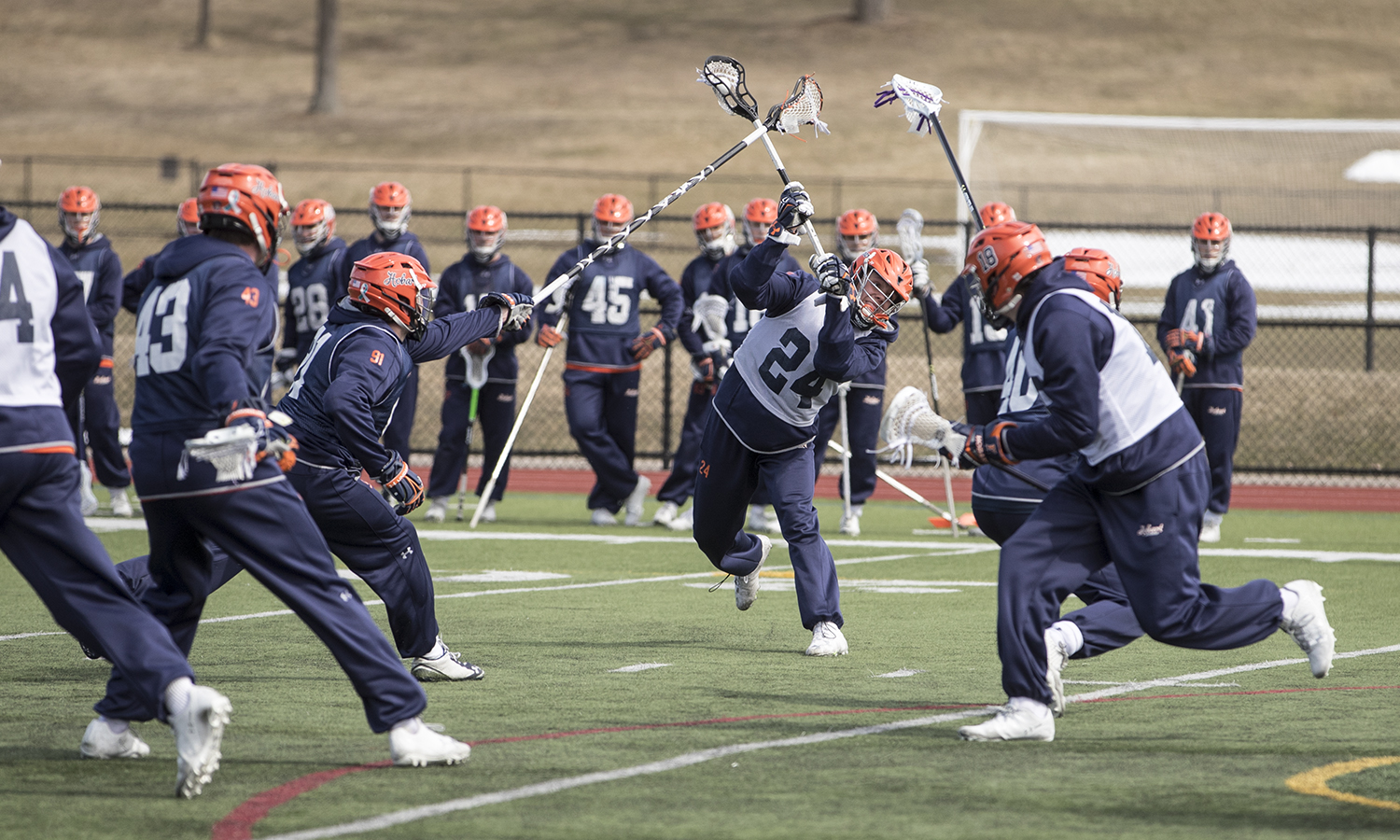 Eric Holden '19 shoots during Hobart Lacrosse's practice on Tuesday. Hobart will host Northeast Conference rival Saint Joseph's University on Saturday, March 24. The opening faceoff on Boswell Field is scheduled for noon.