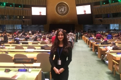 Duniya Syed â20 poses at the United Nations General Assembly. Syed was invited to speak at the 62nd session of the commission on the status of women to discuss womenâs issues in her home country of Afghanistan.